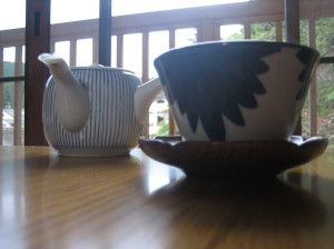 Tea cups at Mount Koyasan, Shinjoshin-in Buddhist Monastery